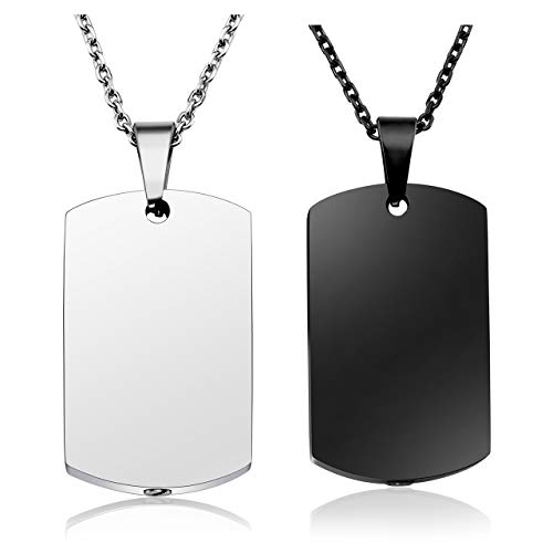 Jovivi 2pcs Mens Womens Silver Black Stainless Steel Dog Tag Pendant Necklace Cremation Urn Jewelry Ashes Funnel Filler Kit ()