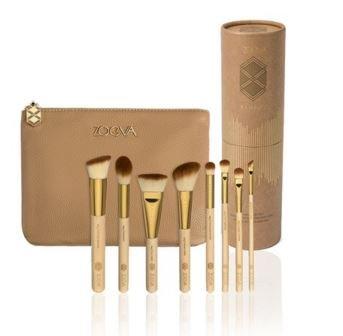 ZOEVA Full Set 8 Makeup Brushes BAMBOO Luxury Professional Organizer Travel Real Techniques Eye Bag