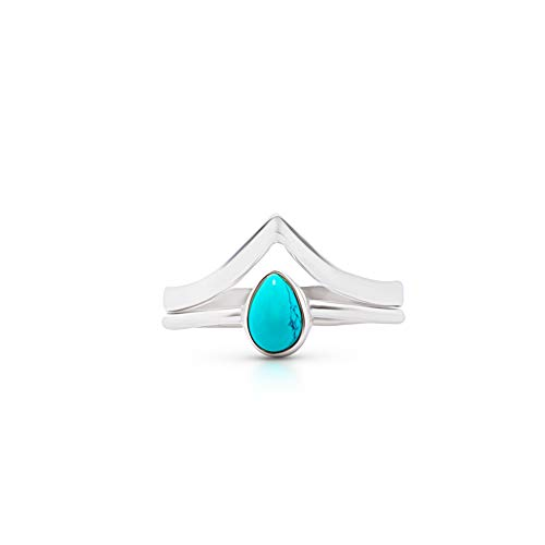 Koral Jewelry Synthetic Turquoise Ethnic Vintage Gipsy Pear Stone Ring 925 Sterling Silver Tribal Boho Chic ()
