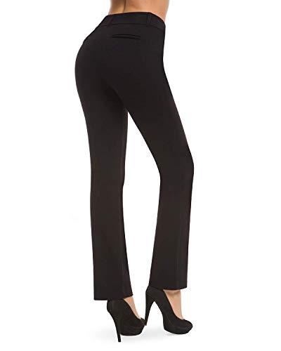 Harsmile Women's Curvy Yoga Dress Pants Barely Bootcut Work Pull-On Straight Leg Pants w/Tummy Control (Black, L) (Pants Curvy Yoga)