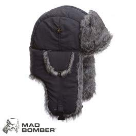 (Mad Bomber Grey Supplex With GreyFaux Fur Hunting Trapper Aviator Bomber Hat (X-Large))