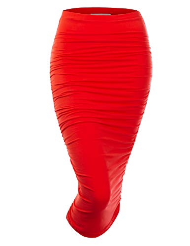Doublju Womens Slim Fit Ruched Long Pencil Skirt with Plus Size RED 2X ()
