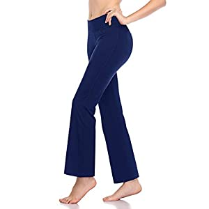 Roseseedlove Women Bootcut Yoga Pants Side Pockets High Waist Bootleg Yoga Workout Tummy Control Flare Pants