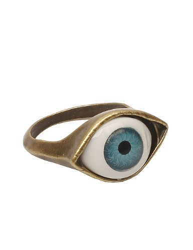 Lovers2009 Punk Style Retro Exaggeration Blue Eye Ring ()