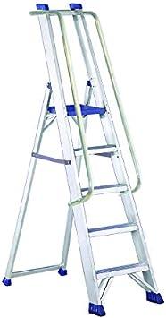 Escalera de aluminio ultra resistente con pasamanos y guardacuerpo (7 peldaños): Amazon.es: Bricolaje y herramientas