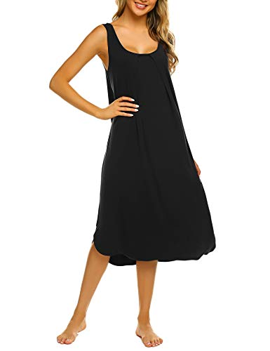 Ekouaer Tank Nightgown for Women Tank Dress Sleepwear Soft Nightgown Loose Tank Sleepdress Sleeveless Sleepshirt S-XXL