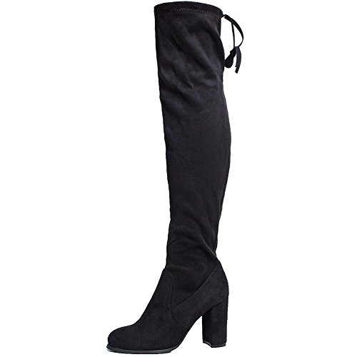 SheSole Womens Faux Suede Thigh High Boots Over The Knee Block Chunky Heel Stretch Size Black US (Plus Size Boots Cheap)