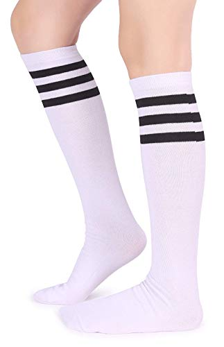Pareberry Unisex Triple Stripes Soft Cotton Knee High Tube Socks (White/Black)