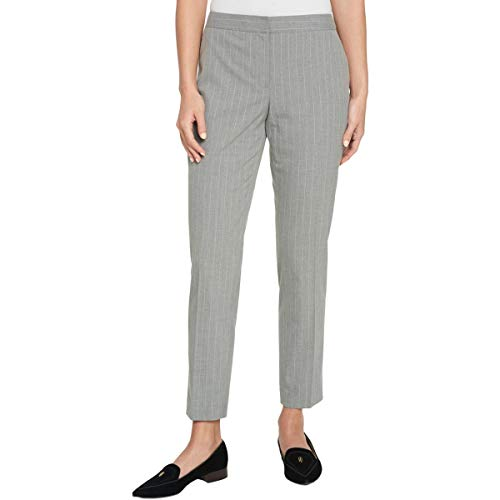(Tommy Hilfiger Womens Pinstriped Suit Separate Ankle Pants Gray 14)