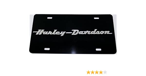 Harley-Davidson Mirrored Text Black Laser Acrylic Front License Plate