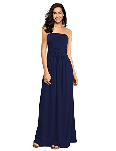 GloryStar Women Strapless Maxi Boho Vintage Summer Beach Floral Print Hawaiian Party Long Dress (L, Deep Blue-2)