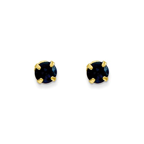 14k Yellow Gold Children's 3mm Blue Sapphire Birthstone Post Stud Earrings 0.34ct by Jewelry Pot