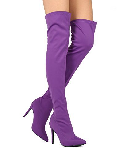 Alrisco Femmes Stretchy Sur Le Genou Cuisse Haute Pointu Orteil Stiletto Boot - Hf00 Par La Diva Collection Sauvage Violet Lycra