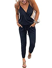 5c8b930bede7 YAMTHR Womens V Neck Spaghetti Strap Elastic Waist Long Pants Jumpsuits  Romper Playsuits