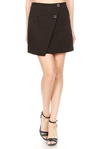 Anna-Kaci Womens Short Asymmetrical Tulip Hem Faux Wrap Envelope Mini Skirt, Black, ()