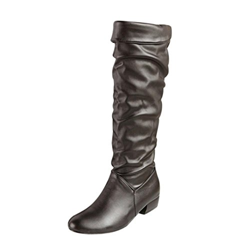 Elevin(TM) 2018Women Winter Warm Fashion Knee High Boots High Tube Flat Heels Riding Boots (7.5US, Black) by Elevin(TM)