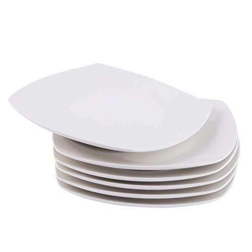 Cutiset Salad/Desert Dinner Plates, Set of 6, White (10.5 inch, Square)