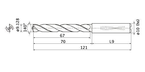 10 mm Shank Dia. Mitsubishi Materials MMS0913X5D100MMS Series Solid Carbide Drill Internal Coolant 5 mm Hole Depth 1.7 mm Point Length 9.128 mm Cutting Dia