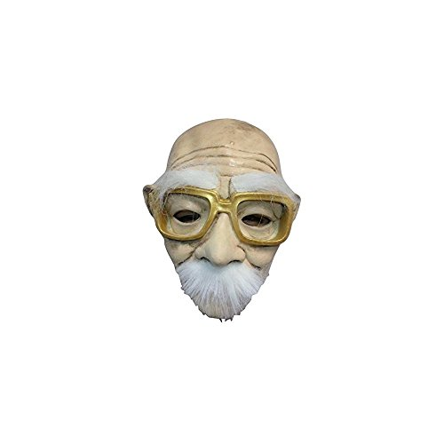 Halloween Funny Creepy Old Man w/ Gold Glasses Mask