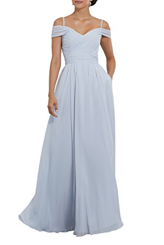 YORFORMALS Women's Off The Shoulder Pleated Chiffon Bridesmaid Dress Formal Evening Party Gown Size 12 Ice Blue