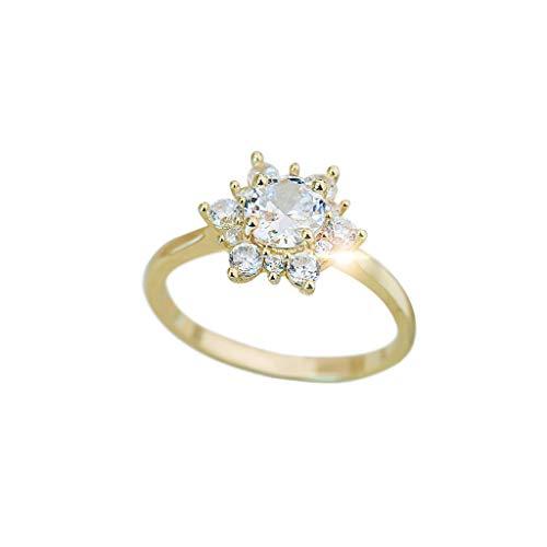 Snowflake Shape Diamond Mosaic Zircon Elegant Noble Party Exquisite Womens Anniversary Gift Engagement Bridal Wedding Rings - Diamond Elegant Enhancer