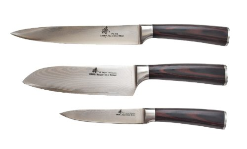 ZHEN Japanese VG-10 3-Piece Damascus Boxed Classic Starter Santoku Knife Set, Pakka Wood