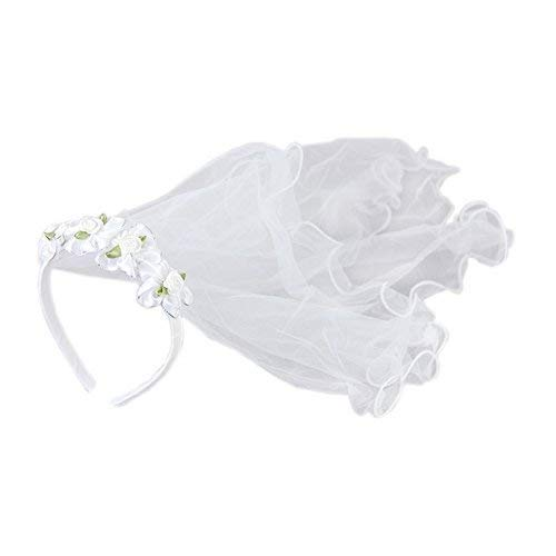 Apregies Baby Girls Floral Headband with 2-Tier Veil Headwear White