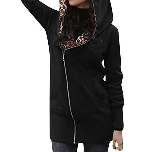 TOTOD Women Coat Outwear, Women's Leopard Print Hood Jacket Long Sleeve Zipper Coats Outercoat Hoodie for $<!--$9.99-->