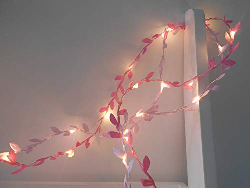 FANStek Artificial Leaf Garlands 20 LED Lighted Green Leaves Decorative Home Wall Garden Wedding Party Wreaths Decor (Pink)