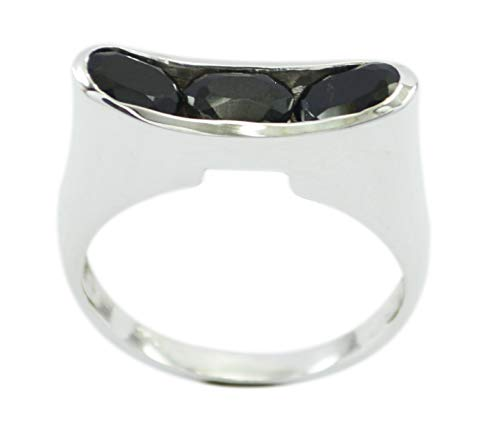 Freely 925 Sterling Silver Fascinating Natural Black Ring, Black Onyx Black Gems Silver Ring -
