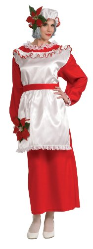 Rubie's Women's Mrs. Poinsettia Claus Dress, Red/White, -