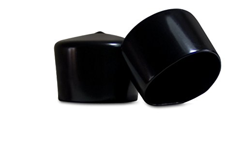 8 Pack - Vinyl Round Pipe End Cap Cover Black Rubber Plastic Tube Hub Caps Tubing Post Marine Safety Stretchable PVC (1.5
