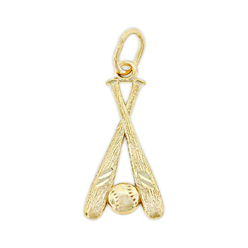 (Charm America - Gold Baseball Bat and Ball Charm - 10 Karat Solid Gold)