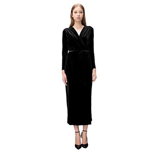1d25ed11adc best Simple Retro Women s V-neck Velvet Belted Wrap Maxi Dress ...