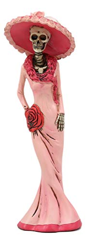 Ebros Gift Day of The Dead DOD Skeleton Lady Rosa with Pink and Red Cocktail Gown Figurine 8.25