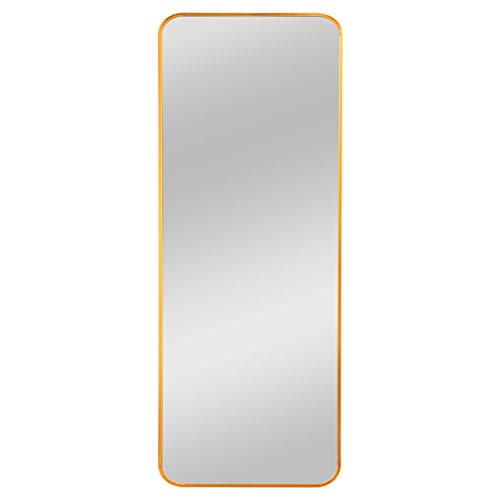 Elevens Brushed Metal Wall Mounted Mirror, Contemporary Round Angle Design Vanity Mirror - Mirrors 16 Round Bathroom Wide