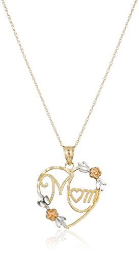 "10k Gold Two-Tone Diamond-Cut ""Mom"" Heart Pendant Necklace, 18"""