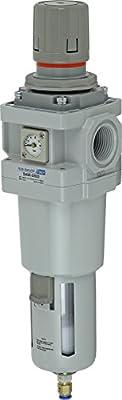 "PneumaticPlus SAW600-N06BDGS Compressed Air Filter Regulator Piggyback Combo 3/4""NPT (High Flow), 10 um-Poly Bowl, Auto Drain, Bracket, Embedded Gauge"