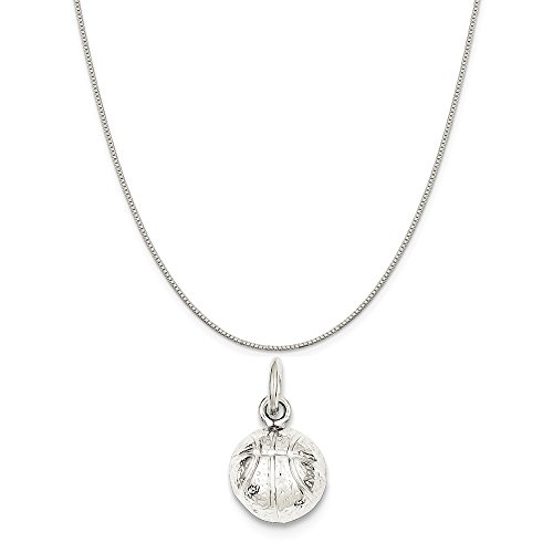 Mireval Sterling Silver Basketball Charm on a Sterling Silver Box Chain Necklace, 16