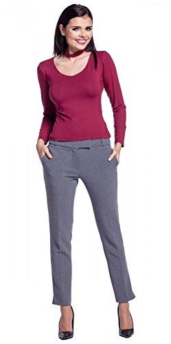 Zeta Ville - Top elástico gargantilla manga larga escote de pico - mujer - 339z Carmesí