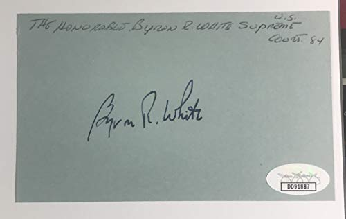 Supreme Court Justice Byron White Autographed 3x5 Index Card