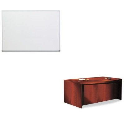 KITMLNABD7242LCRUNV43624 - Value Kit - Mayline Aberdeen Series Laminate Bow Front Desk Shell (MLNABD7242LCR) and Universal Dry Erase Board (Aberdeen Series Bow)