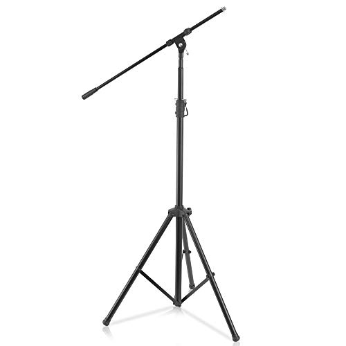 Pyle Heavy Duty Microphone Stand - Height Adjustable from 51.2'' to 78.75'' Inch High w/ Extendable Telescoping Boom Arm 29.5'' and Stable Tripod Base - Clutch in T-Bar Adjustment Point PMKS56 (Stand Mic Professional)
