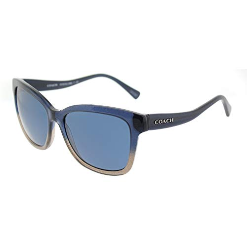 Coach Women's HC8219 Sunglasses Denim Taupe Glitter Gradient/Dark Blue Solid 56mm (Blue Coach Sunglasses)