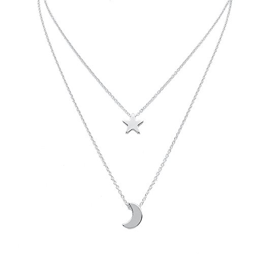 METTU Star Moon Double Chain Pendant Necklace for Girls Gold Silver Color Jewelry for Women (Silver) Double Star Necklace