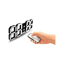 FLAITO 3D LED Watch Black 3D Led Multi-Functional Remote Control Digital Wall Clock, Timer, Stop Watch, Thermometer, Alarm, Black