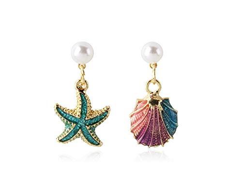 ailov Asymmetrical Earrings Dangle Drop Ocean Starfish Sea Shell Nautical Beach Mermaid Jewelry (Earrings Starfish Mini)