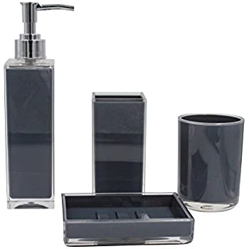 4 Piece Set: Bathroom Accessory Collection (Blk)