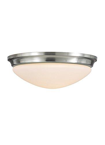 Feiss FM273BS Barrington Glass Flush Mount Ceiling Lights, 3-Light, Brushed Steel (17''W by 6''H)