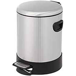 HomeZone 5-Liter Stainless Steel Round Step Trash Can with Dome Lid